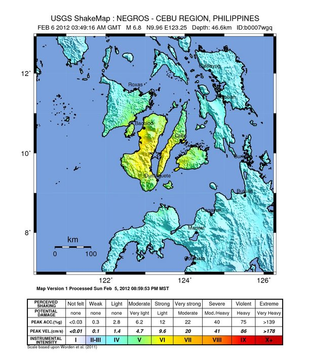 Bacolod (Negros Occidenta Philippines  city pictures gallery : Magnitude Earthquake hits Iloilo, Negros, Cebu