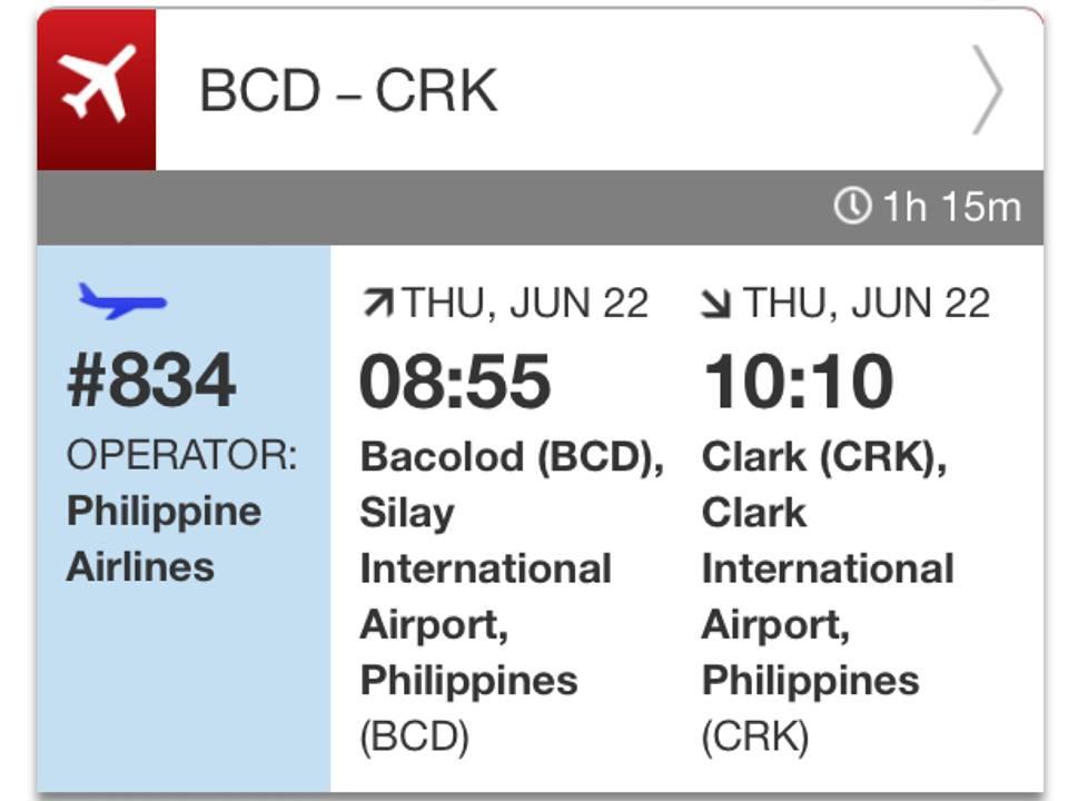 PAL bacolod clark flight